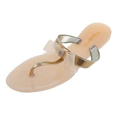 3f7c78f5d0be SODIAL(R) Womens Ladies Toe Bow Diamante Jelly Summer Flat Flip Flop Thong  Sandals Apricot Size Uk 6 Eu 39 Us 8  Amazon.co.uk  Shoes   Bags