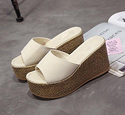 Ajunr Moda/elegante/Transpirable/Sandalias Zapatillas Zapatos 9cm Plataforma pendiente con impermeable Arroz blanco ,39 36