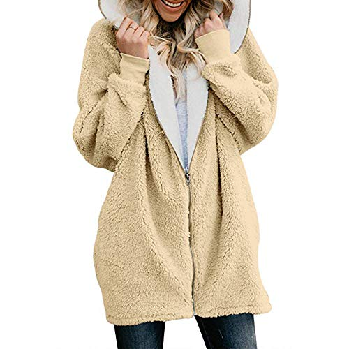Sunhusing Women's Winter Fluffy Double-Face Fleece Zip Pullover Fashion Hoodie Warm Jacket