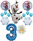 Mayflower Products Frozen 3rd Birthday Party Supplies Olaf, Elsa and Anna Balloon Bouquet Decorations Blue #3