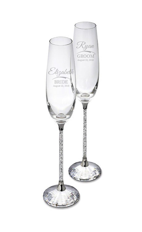 Swarovski Personalized Crystalline Champagne Flutes, Set of 2