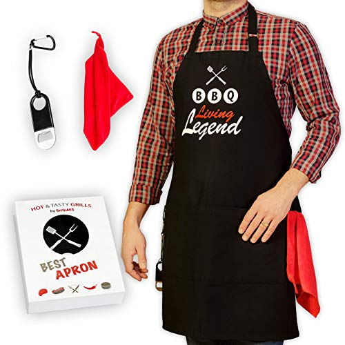 GrilliACS BBQ Aprons for Men, 2 Big Pockets, Bottle Opener & Towel, 100% Cotton Canvas, Father's / Dad Christmas Gift, Professional Chef Apron for Grilling, Baking, Cooking - Funny Bib Apron ()