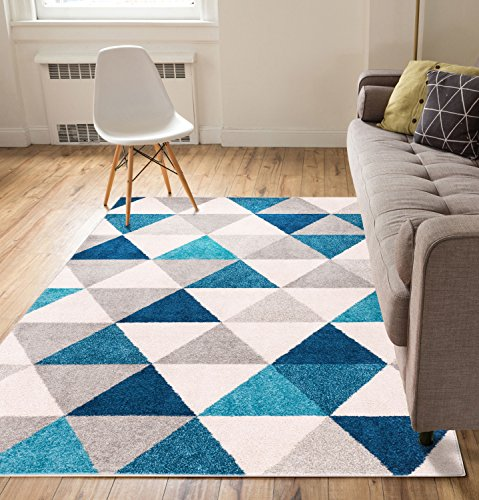 Isometry Blue & Grey Modern Geometric Triangle Pattern 5' x 7' Area Rug Soft Shed Free Easy to Clean Stain Resistant