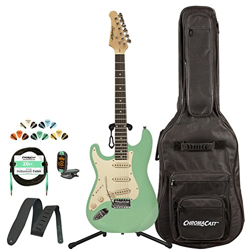 Sawtooth ST-ES60-LH-SGRW-KIT-1 Classic ES 60 Alder Body Left-Handed Electric Guitar - Surf Green with Gig Bag, Cable, Picks, Strap, Tuner and Stand
