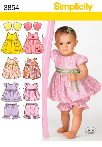 Simplicity In K Designs Pattern 3854 Babies Dress or Jumper, Top, Pantaloons and Bolero Sizes Birth to 24 Pounds or 18 (Design Sewing Pattern)