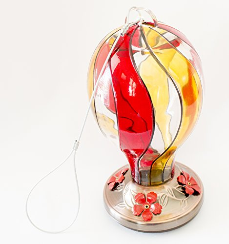 Best Copper Hummingbirds Feeder with Bright Painted Glass Swirl With 4 Nectar Feeders in Beautiful & Unique Design - Great Gift for Hummer Lovers! 100% Satisfaction - Valley View Stores Mall At