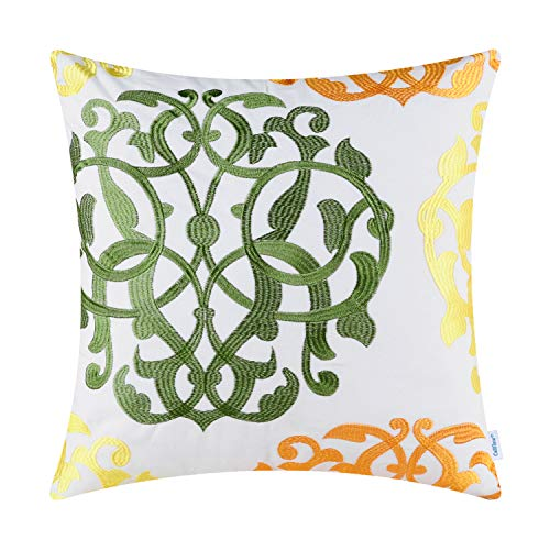 CaliTime Cotton Throw Pillow Case Cover for Bed Couch Sofa Vintage Compass Geometric Floral Embroidered 18 X 18 Inches Olive Green/Sun Orange/Bright Yellow