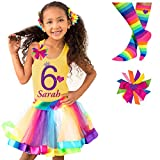 Girls 6th Birthday Rainbow Tutu Outfit 4PC Gift Set Socks Hair Clip Personalized Name 6 years old