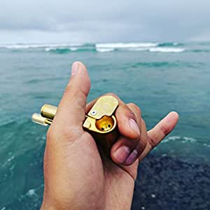 Shaka Brass Smoking Pipe Unique All-in-One Re-engineered from Proto w/ Bullet Case Tobacco Stash Tube Tar Trap and Poker Wrench