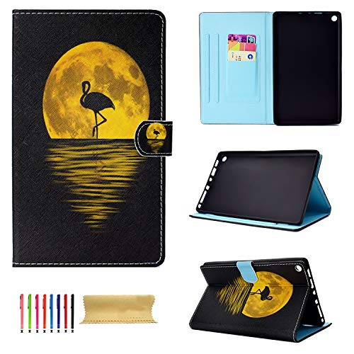 Uliking Case for Amazon Fire HD 8 Tablet (7th Generation/ 6th Gen), Slim PU Leather Folio Stand Smart TPU Cover with Card Holder [Auto Sleep/Wake] for Kindle Fire HD 8 2017/2016, Flamingos & Moon