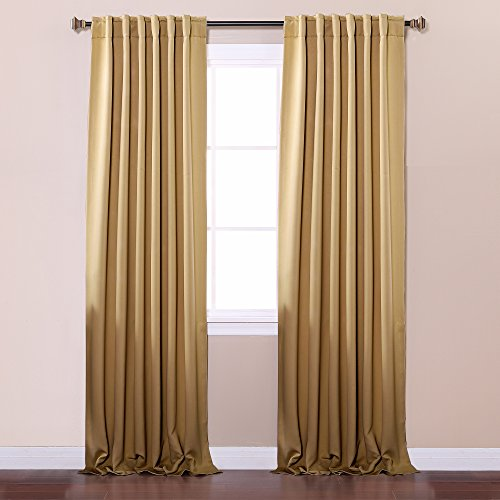 """Best Home Fashion Wheat Solid Backtab and Rod Pocket Thermal Insulated Blackout Curtains 52""""W x 95""""L - 1 Pair"""
