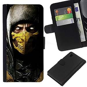 JackGot ( Diablo héroe en Máscara de Oro ) Sony Xperia Z1 L39 la tarjeta de Crédito Slots PU Funda de cuero Monedero caso cubierta de piel