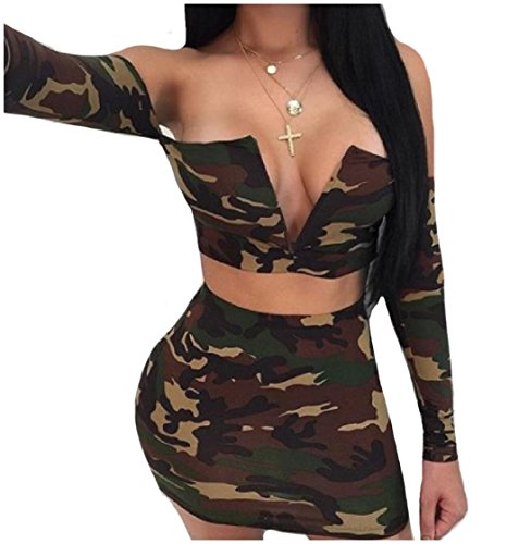 Outfit Bodycon Printed Sleeve As1 Long Camo Evening Sexy Skirt Coolred Sets Dress Pieces 2 Women Club 540nxpPW
