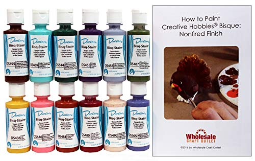 Duncan OSKIT-4 Acrylic Paint Set, 12 Best Selling Colors in 2 Ounce Bottles with Free How To Paint Ceramics Book