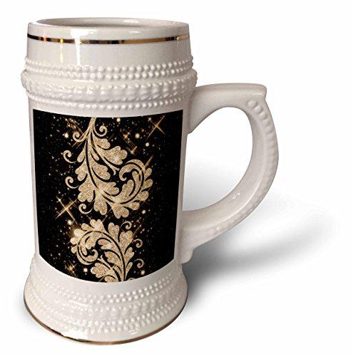 Rewards4life Gifts - Floral Glitter Swirls Gold - 22oz Stein Mug (stn_41093_1)