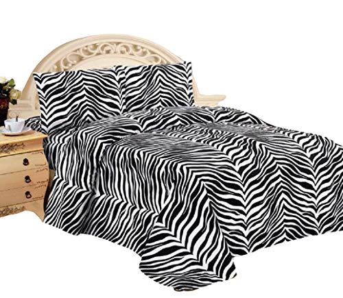 4 Piece Zebra Animal Print Super Soft Executive Collection 1