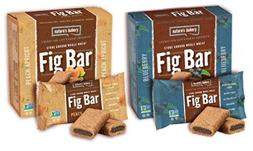 Nature's Bakery Non-GMO Fig Bar Cookies, Stone Ground Whole Wheat 2 Flavor Variety Bundle: (1) Nature's Bakery Peach Apricot Fig Bars, and (1) Nature's Bakery Blueberry Fig Bars, 12 Oz. Ea. (2 Boxes) (Whole Grain Ground)