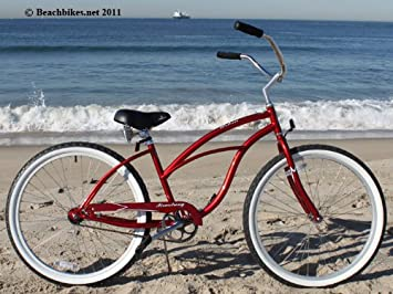 "Firmstrong Urban Lady Single Speed, Red - Women's 26"" Beach Cruiser Bike"