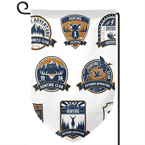 (lsrIYzy Garden Flag,Shield Icons Set Hunting Sports Club Emblems and Labels with Animals,12.5x18.5 inch )