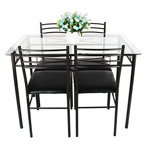 Dining Table Set, VECELO 5PC Glass Table and 4 Chair Sets Metal Kitchen Room - Set Dinette Room Dining