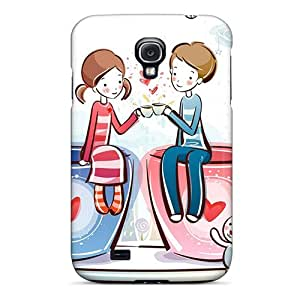 Ultra Slim Fit Hard AngelKiss Case Cover Specially Made For Galaxy S4- Love Coffee Valentine&8217;s Day