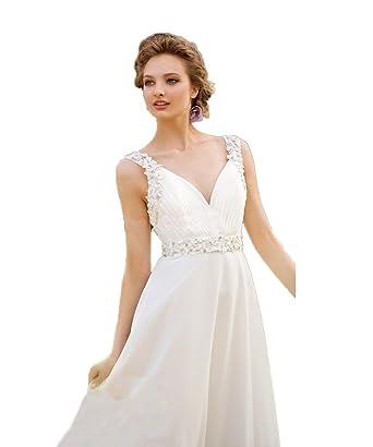 RMdress V-Ausschnitt Braut kleider Spitze Chiffon Natürlich ...