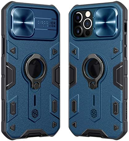 Nillkin Armor Case Compatible with iPhone 12 Pro Case, [Built in Kickstand & Camera Protector] Shockproof Hard PC & Soft Silicone Bumper Hybrid Cover Phone Case for Phone 12 Pro (Blue)