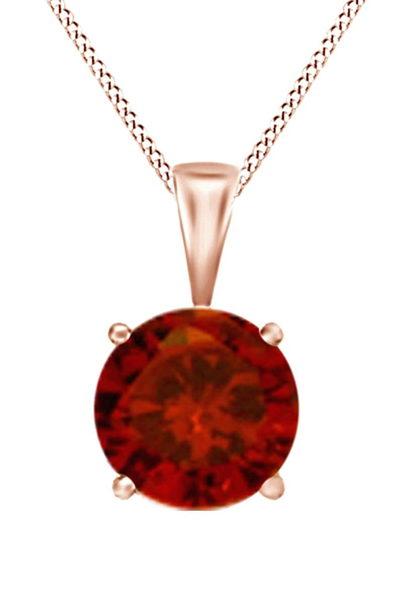 Jewel Zone US Simulated Gemstone Round Shape Pendant Necklace in 10k Solid Rose Gold 2 cttw