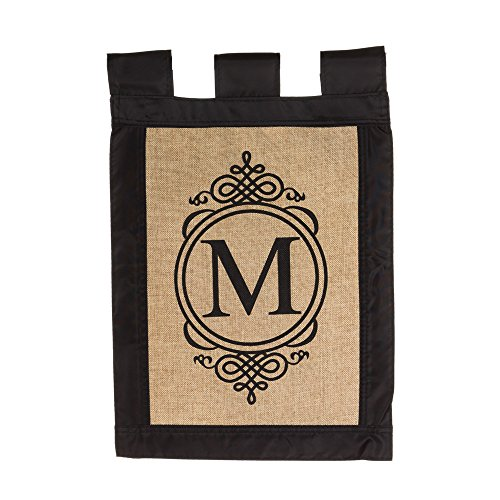 Burlap Monogram Garden Flag - M