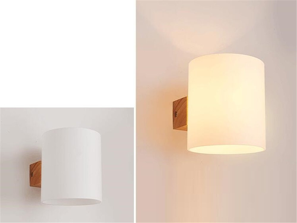 E27 moderna creative glassato vetro paralume in legno 1 testa