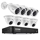 ZOSI 8CH 720p AHD-TVI Security Camera System 1080N DVR Reorder with (8) HD 1280TVL Outdoor CCTV Cameras with IP66 Weatherproof and Motion Detection