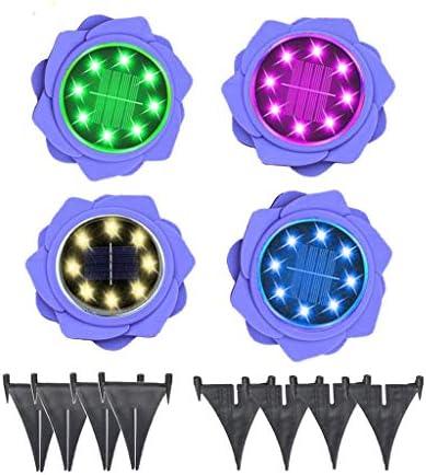 Flower Solar Disk Lights Outdoor, 4PCS 8 LED Waterproof Solar Garden Lights Outdoor Solar Ground Lights for Pathway Garden Yard Walkway Purple
