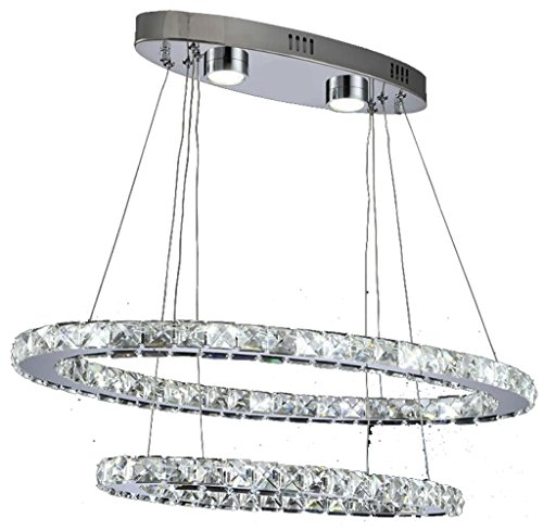 Dixun Modern Crystal Chandeliers LED Ellipse Pendant Light With 2 Rings Max 48W Chrome Finish 30+50cm (White) (14 Light Oval Chandelier)