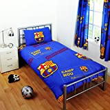 FC Barcelona Childrens/Kids Official Patch Football Crest Single Duvet Set (Twin Bed) (Blue)