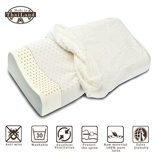 Price comparison product image Hypoallergenic Pillow, ALPHA LATEX Natural Hypoallergenic 100% Latex Pillow(Improved Version)with washable inside case + luxurious upscale comfortable Velvet pillowcase is prime choice for sweet sleep