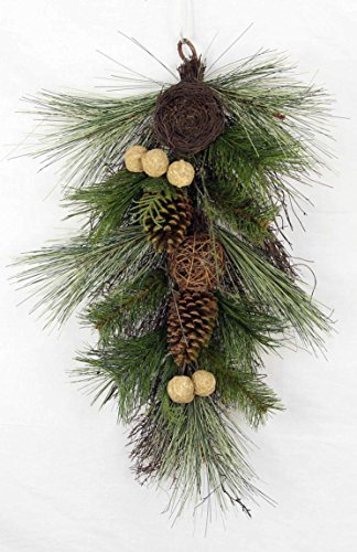 Admired By Nature Christmas Pine Teardrop Swag with Twig Balls, Bird Nest & Walnut by Admired By Nature
