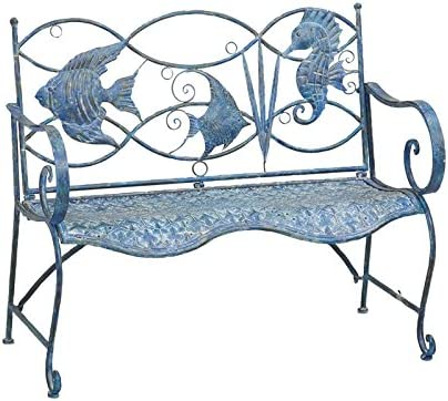 Cape Craftsmen Beautiful Springtime Colorful Blue Fish Shaped Metal Garden Bench – 44 x 20 x 36 Inches Fade and Weather Resistant Decoration for Homes, Apartments, Yards and Gardens