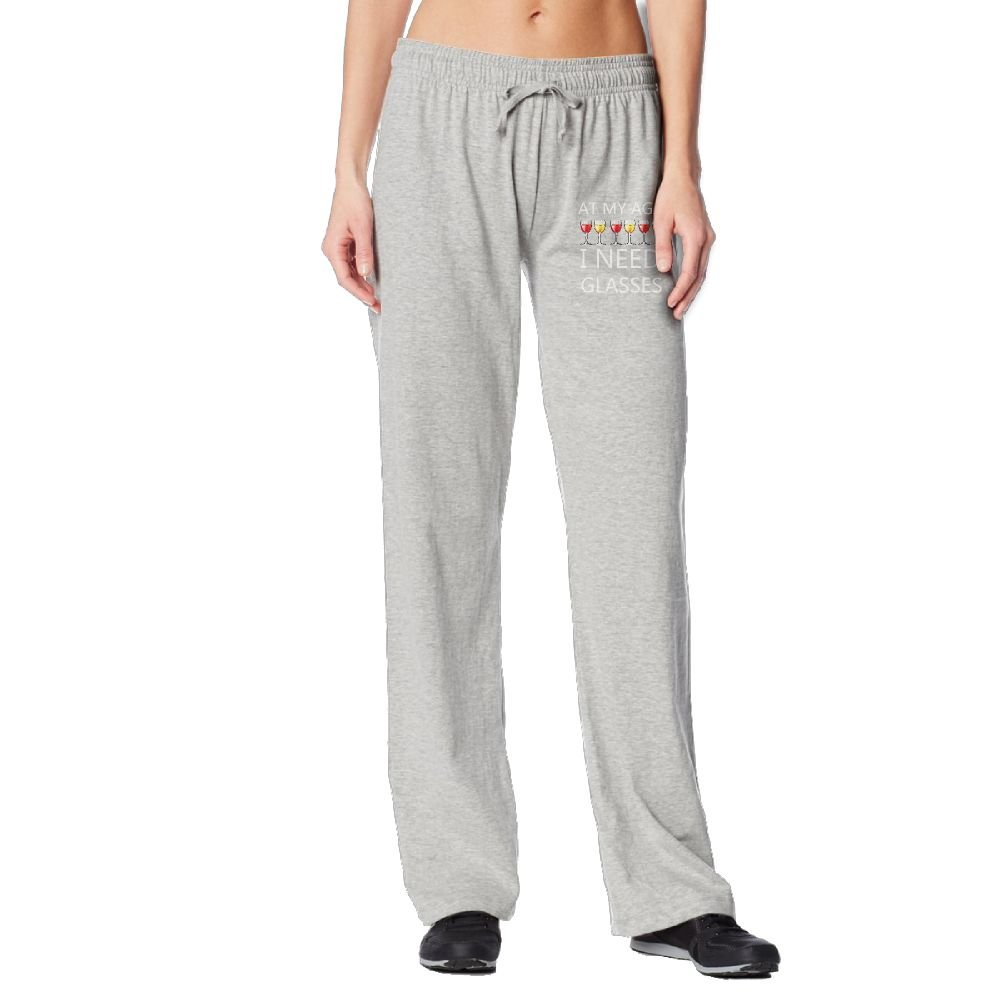 At My Age I Need Wine Glasses Womens Long Sweatpants With Pockets 100% Cotton