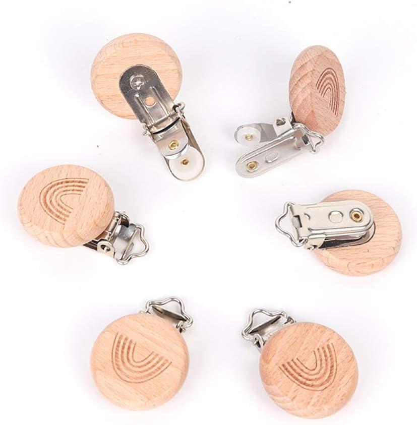 R1vceixowwi 1pc Regenbogen Holz Schnuller Clip Buche Holz Baby Dummy Clips DIY Schnuller Kette-Geschenke F/ür Babys Und Kinder