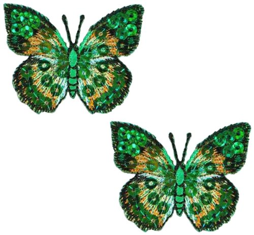 Expo MBP102GR Iron-On Embroidered Sequin Butterfly Applique, 2-Pack, Green