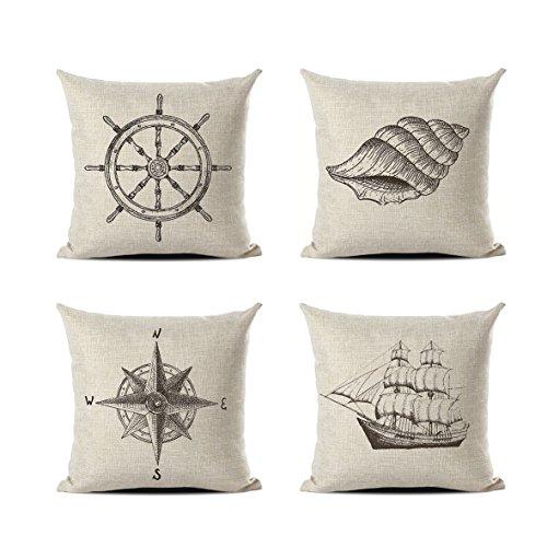 Retro Classic Stylish Nautical Decorative Pillowcases Set of