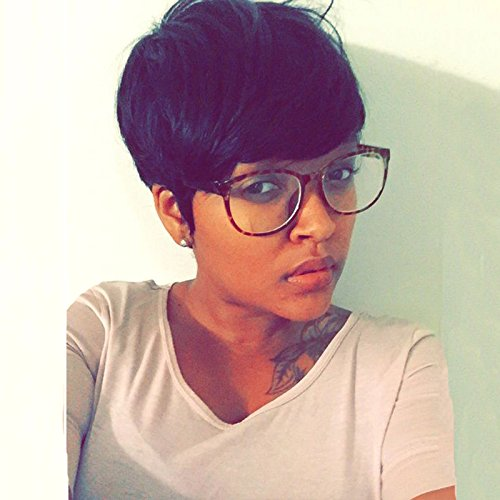 HOTKIS Side Parting Short Human Hair Wigs For Black Women Short Cut Wigs Short Pixie Wigs For Black Women (SW806-1B#) (Braided Hairstyles For Natural African American Hair)