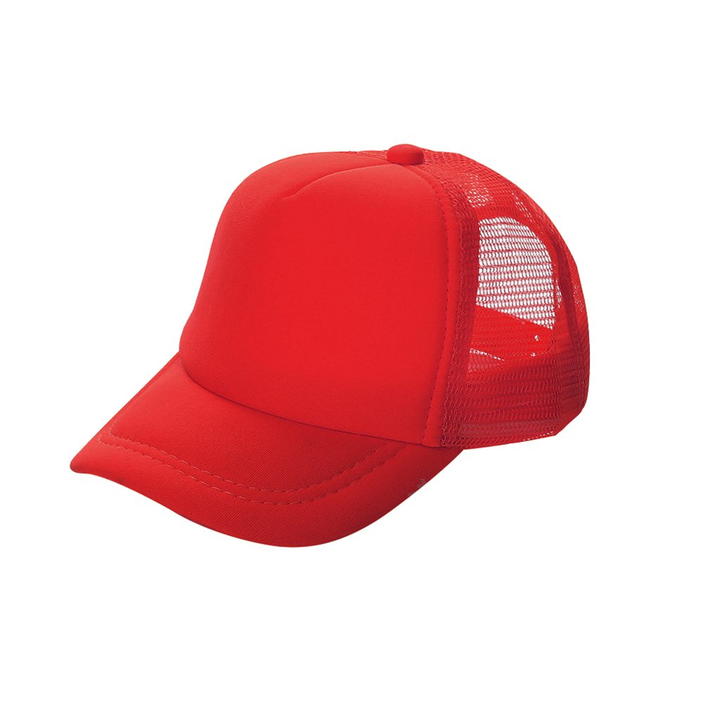 Opromo Kids Two Tone Mesh Curved Bill Trucker Cap, Adjustable Snapback, 14 Colors-Red-48 Pieces