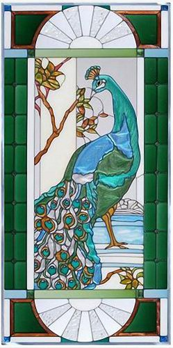 ROYAL PEACOCK Victorian WINDOW Panel 42 x 20 FACING LEFT Tempered Glass Suncatcher