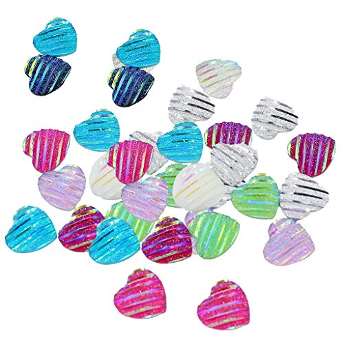 Multi Color Resin Beads - MonkeyJack 50 Pieces 12mm Lovely Heart Shaped Stripe Resin Cabochon Flat back Beads Settings Findings for Jewelry Making - Multi-Color AB