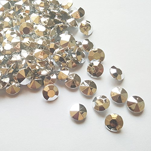 ElE&GANT 500Pcs 12mm Metallic Silver Acrylic Diamond Gems Crystal Rocks For Table Scatter Or Table Confetti