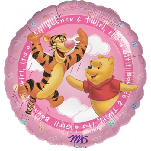 Anagram Winnie The Pooh Jump & Twirl Its A Girl New Baby 18 Inch Foil Balloon ()