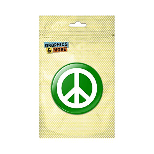 (Peace Sign Symbol Green Pinback Button Pin Badge - 1 Inch Diameter)