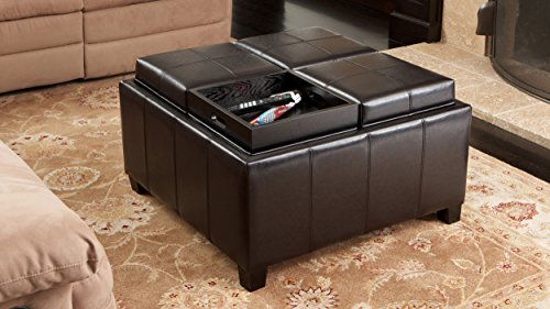 Faux Folding Wooden Leather Storage Cube Ottoman