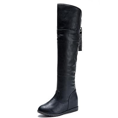 Les femmes ont augmenté la cuisse brodent des bottes hautes au-dessus de la botte de genou les chaussures à talons hauts 9AHV1B3ta